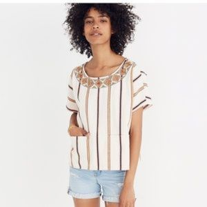 Madewell Embroidered Boxy Top in Rocco Stripe S